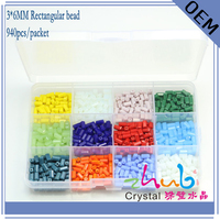 Czech Facetted Glass Beads 3x6mm 312PCS LOT Long Square Beads Crystal Cube Beads Pearls For The
