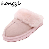 Plus Size 35 45 Men Women Winter Warm Genuine Sheepskin Leather Real Wool Fur Slippers Indoor