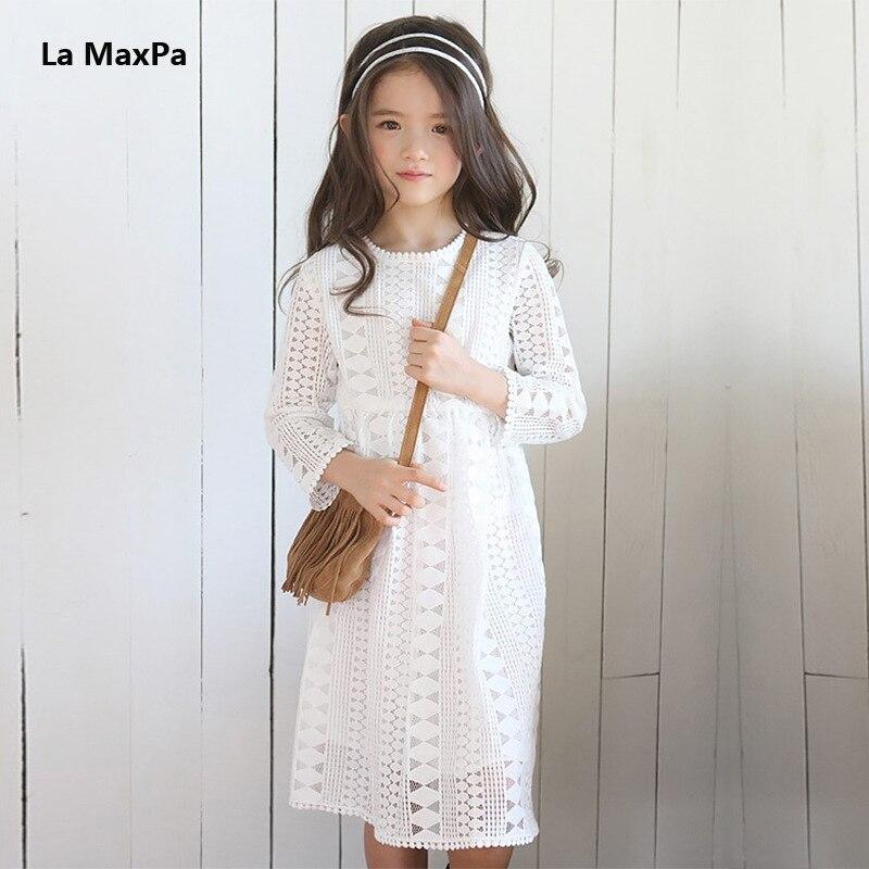 ᗚ2018 Primavera Verano adolescente Niñas vestido manga larga ...