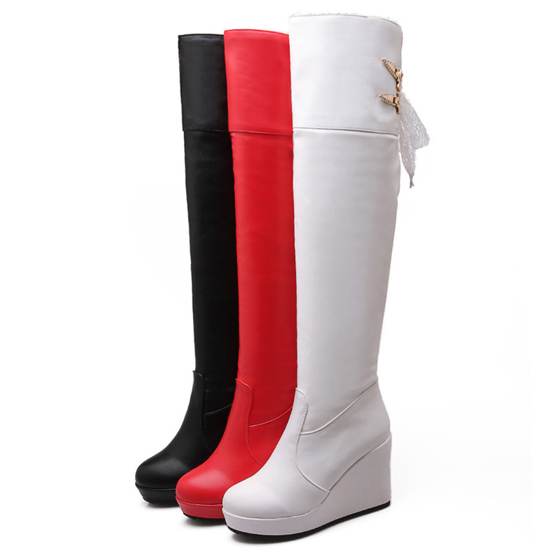 ФОТО AirfourRibbons women Boots Sexy wedges Black White Red Knight Boots Shoes Fashion Casual women Boots new Winter Boots Platform