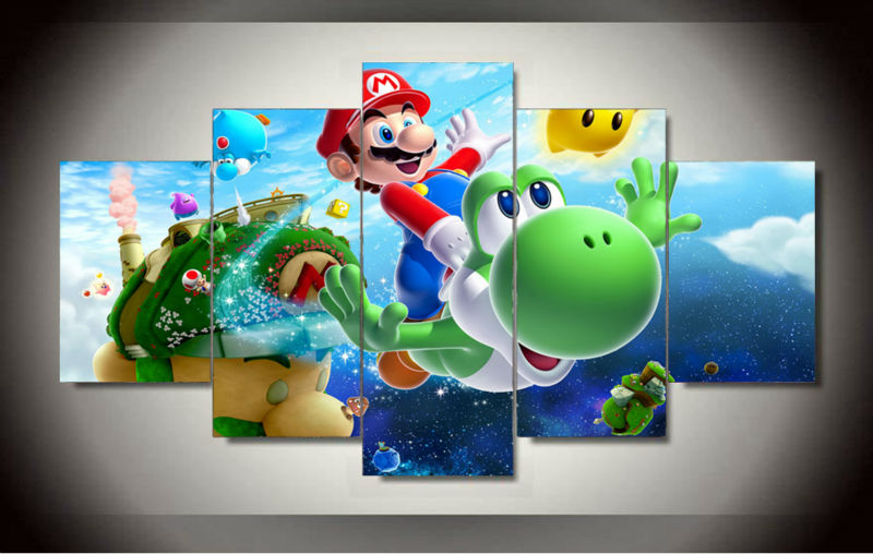 2017 Fallout Wall Art Cartoon Group Oil Painting Super Mario Galaxy ...