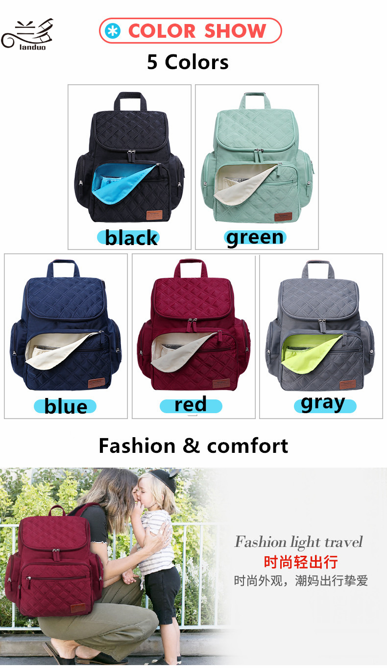 HTB1KlgLRzDpK1RjSZFrq6y78VXa0 LAND Mommy Diaper Bags Mother Large Capacity Travel Nappy Backpacks with changing mat Convenient Baby Nursing Bags MPB37