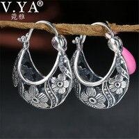 549e63176a37 V YA 2018 Vintage Flower Hoop Earrings 925 Sterling Silver Earrings Brincos  Women Mother Day Gift. V. YA 2018 pendientes de aro ...