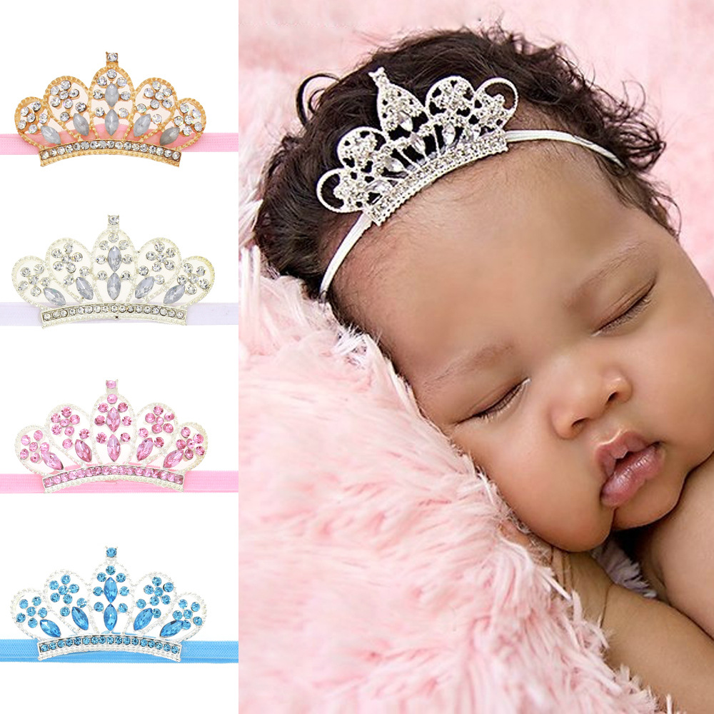 baby girl headband Infant hair accessories cloth crown bows newborn   Headwear   tiara Gift Toddlers bandage Ribbon crystal headwrap