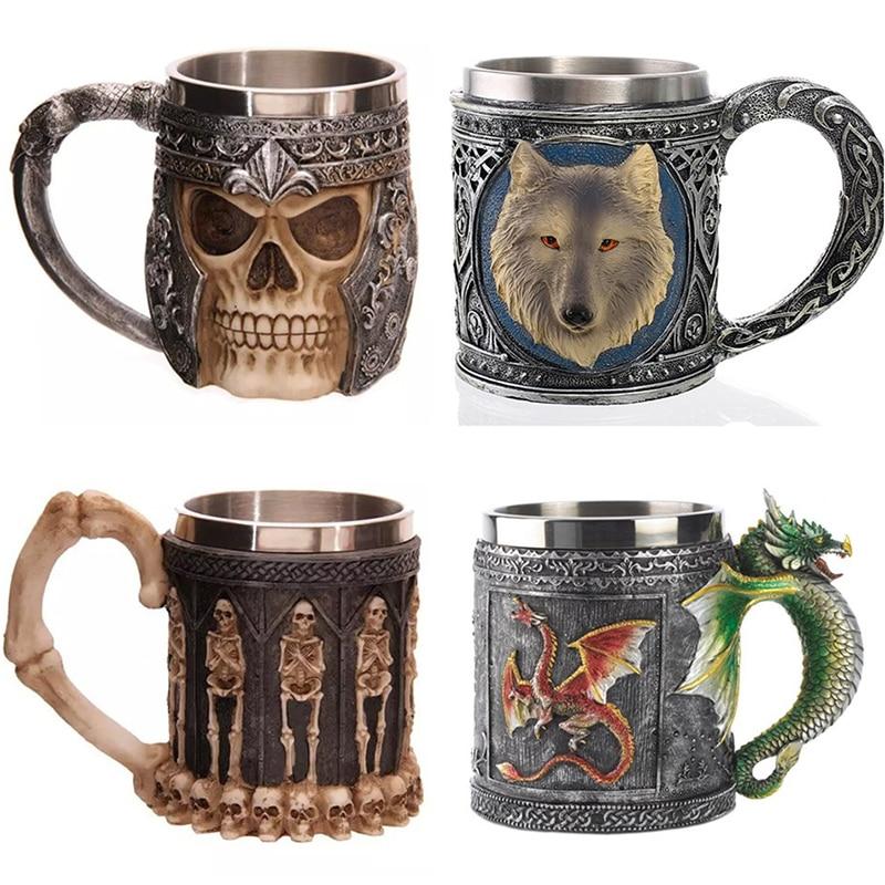 1pcs Stainless Steel Liner Drinking Skull Mug Resin 3D Skull Tankard Horror Decor <font><b>Cup</b></font> for Halloween Bar Party Free Shipping
