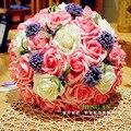 2017 Красивый Розовый Красный Шампанское Ручной Свадебный Букет де mariage Невесты Искусственный Цветок Розы Бесплатная Доставка