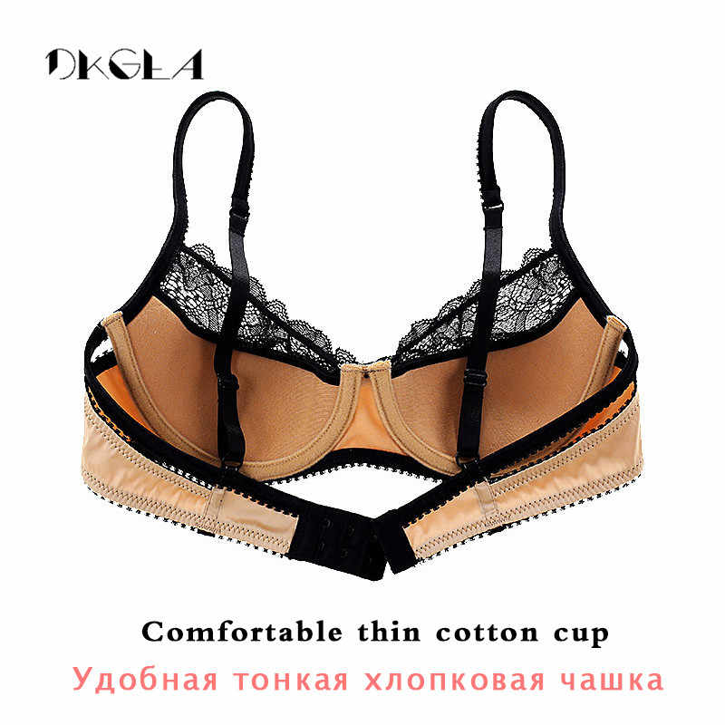 Модный кружевной комплект нижнего белья для женщин, тонкая хлопковая чашка, прозрачный бюстгальтер и трусики, наборы с вышивкой, цветочный сексуальный комплект нижнего белья черного цвета