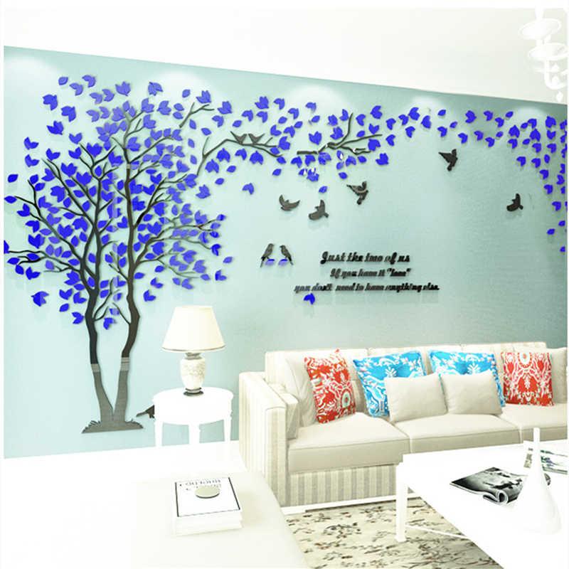 3D Дерево стикеры Настенные Акриловые Настенные стикеры домашний декор DIY для украшения дома большие настенные украшения гостиной настенные обои