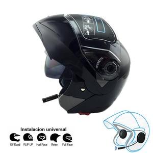 Image 5 - 오토바이 블루투스 헬멧 듀얼 바이저 모듈러 플립 bt 헬멧 레이싱 모토 크로스 헬멧 dot ece 스티커 M XXL 오토바이 헬멧