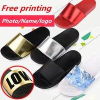 SHANGPREE kadın Terlik Sandalet Yaz Ev Terlik Kapalı Açık DIY Terlik Ücretsiz Özel baskı Fotoğraf/Adı/Logo/çift ayakkabı