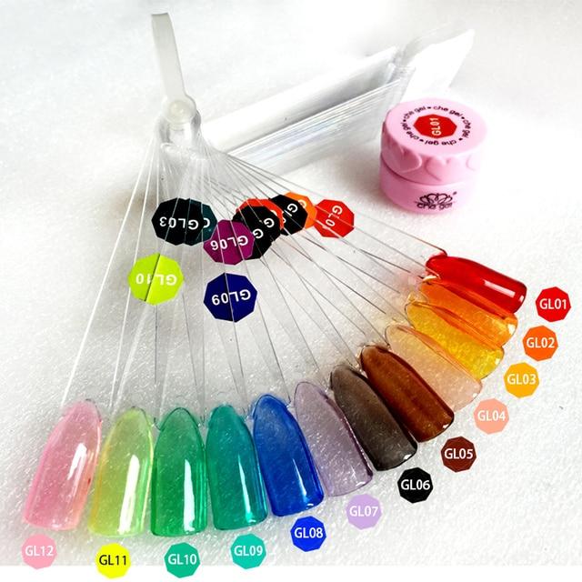12 Farben Translucent Lack Glas Gel Nagellack Design Farbige Glasur ...