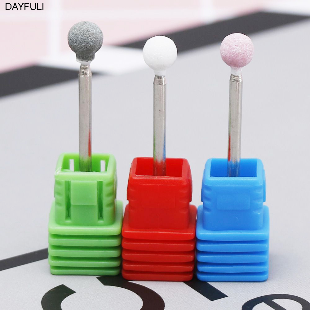 Useful Burr Stone Ceramic Spherical Nail Drill 3/32 Electric Manicure Accessories Lot Plastic Base Sent Randomly 1PC Fashion New