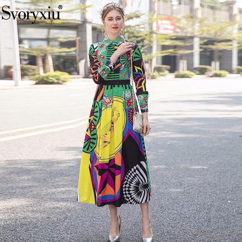 Svoryxiu Runway wiosna lato z długim rękawem długa sukienka damska szata moda kolorowe drukuj plaża wakacje Maxi sukienki vestidos w Suknie od Odzież damska na  Grupa 1