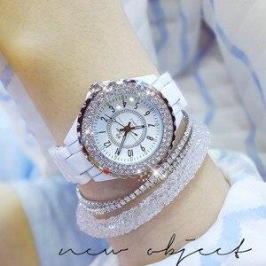 Image 5 - 2018 top marke luxus armbanduhr für frauen weiß keramik band damen uhr quarz mode frauen uhren strass schwarz BS