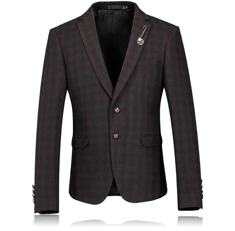 2016 New arrival wool&cotton plaid Single button Men Blazer Casual jacket Men Slim Blazer jackets Size M-2XL