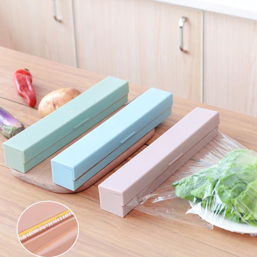 Kitchen Creative Tool Plastic Food Wrap Cling Film Dispenser Aluminum Foil Wax Paper Cutter Cutting Box 3 Colors