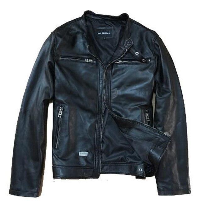 David Beckham Genuine Leather Jacket Man Fashion Slim Real Sheepskin Black Short Leather Suede Motorcycle Jaquetas De Couro