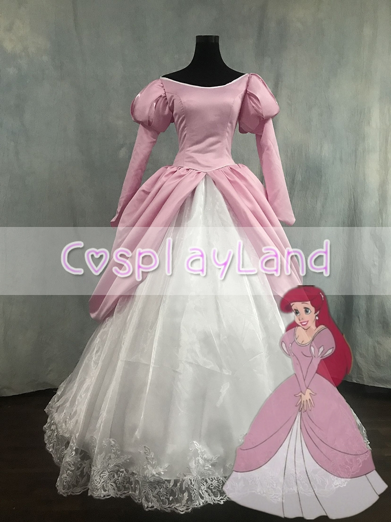 The Little Mermaid Ariel Costume Cosplay Princess Dress Pink Custom Made Adult Women Halloween Party Dress Cosplay Costume
