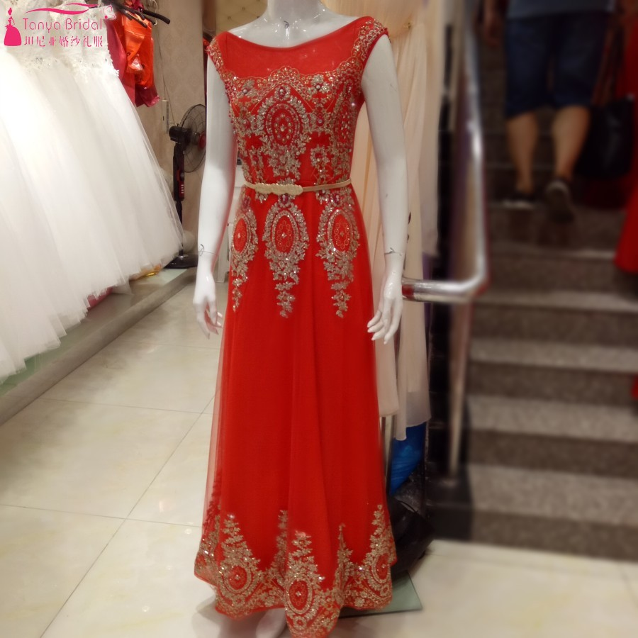 Real Images Long A Line Red Prom Dress With Gold Appliques Elegant