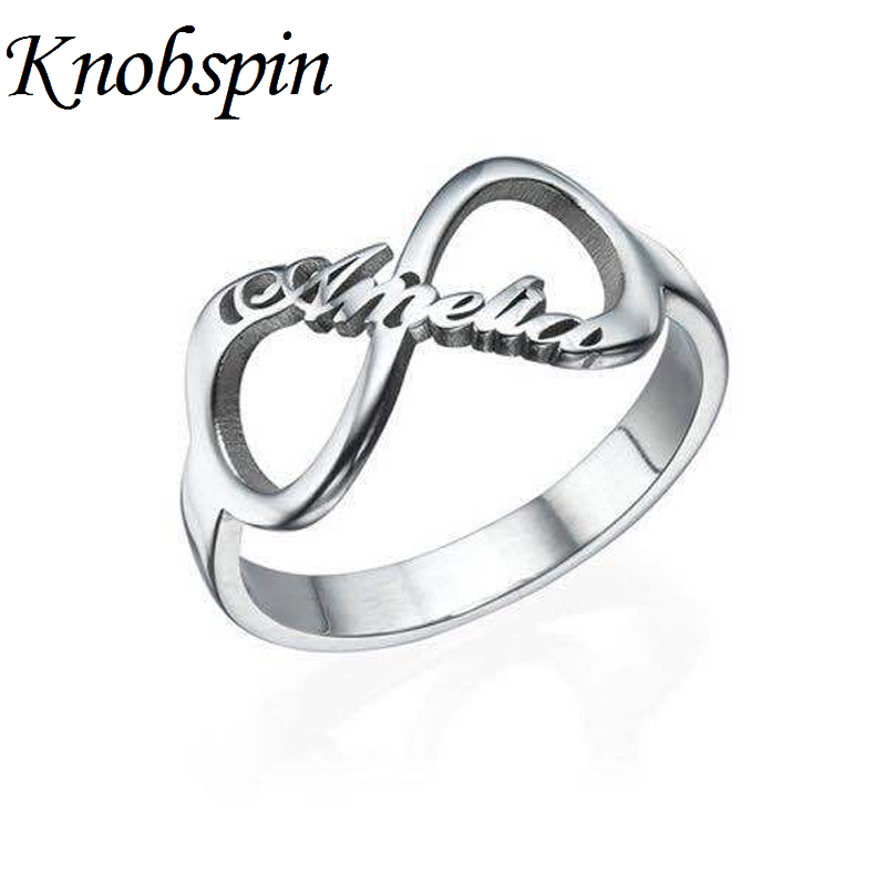 Fashion Simple Princess Engagement Rings for Women Girls Trendy Infinity Symbol Amelia Letter