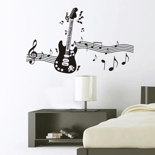 Free shipping music notes guitar wall sticker window - Decoraciones para guitarras ...