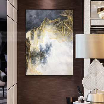 Gold art Abstract canvas paintings wall art pictures for living room home hallway wall decor gold lines acrylic quadros caudros