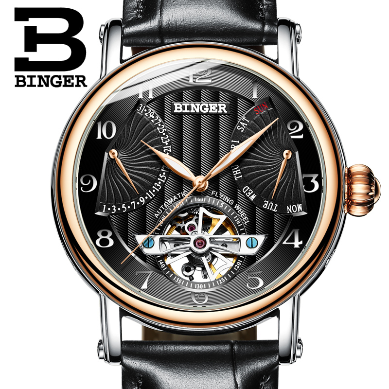 Switzerland watches men luxury brand BINGER business sapphire Water Resistant leather strap
