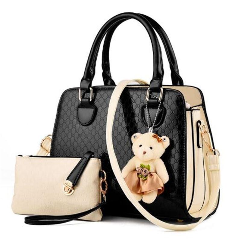 1 set 2 bags 2017 Women Fashion Composite Bags Girls Shoulder Shopping bag Ladies Handbag Femme Sac A Main Black Pink Beige