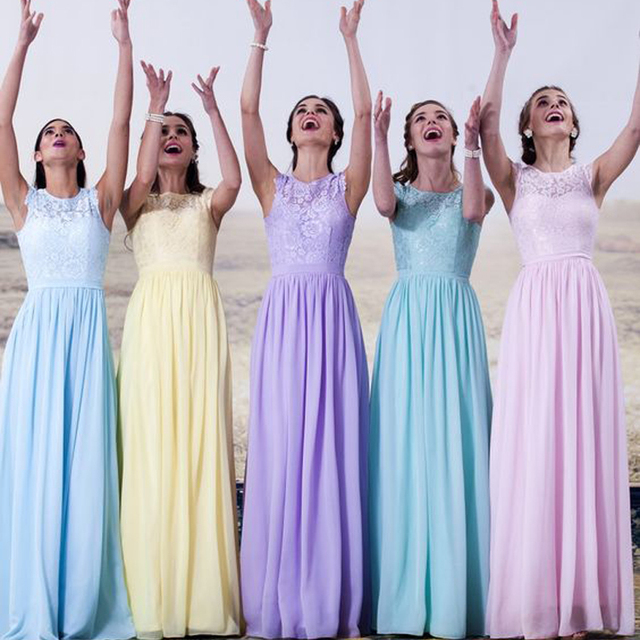 Cheap Mint Green Lilac Yellow Chiffon Long Bridesmaid Dresses Floor Length  Top Lace Wedding Party Dresses For Bridesmaids RWB07 6f66062c93f9