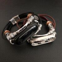 Für Xiao mi mi Band 3 Riemen Retro Echtem Leder Uhr Band Mit Metall Fall Armband für Xiao mi mi band 3 Armband Zubehör-in Cleveres Zubehör aus Verbraucherelektronik bei