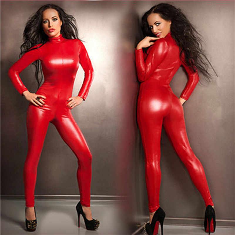Adogirl Plus ขนาด S-5XL สีแดง PU หนัง Jumpsuit Zipper คอเต่าแขนยาว Romper เซ็กซี่คลับชุด Biker ชุด