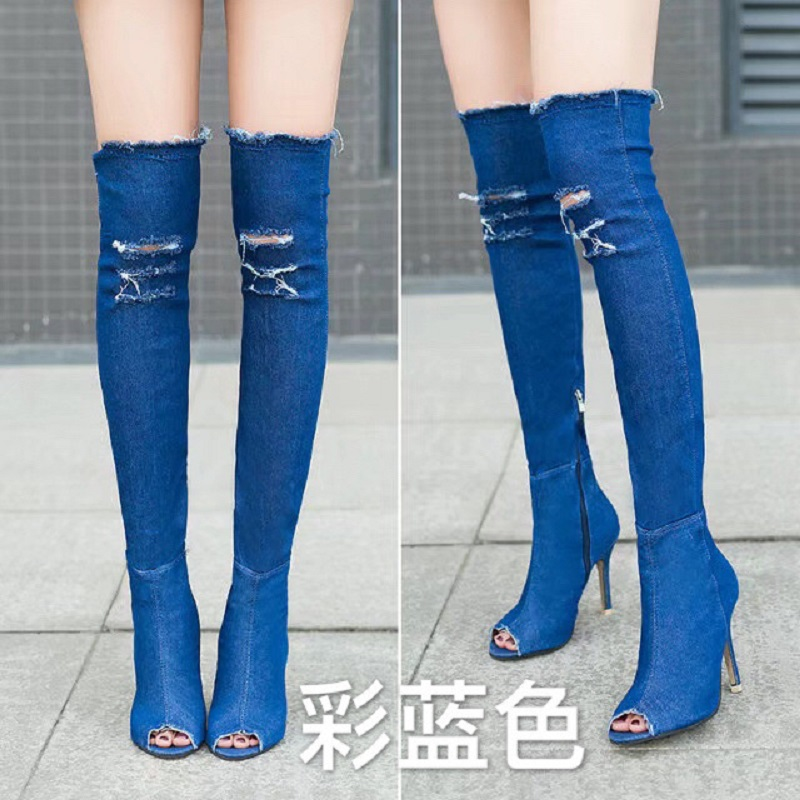 dwayne spring and summer new fish mouth cowboy fine with knee boots stretch boots sandals large size female