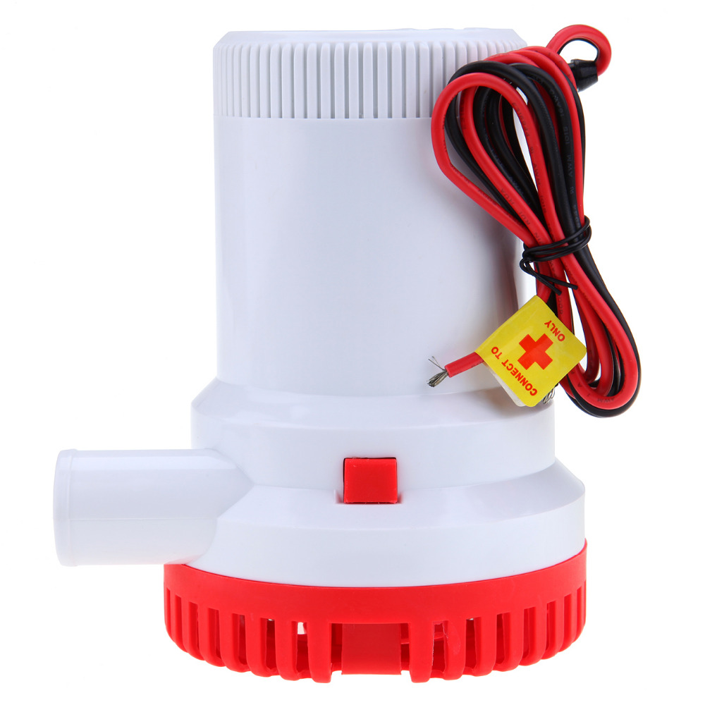(Shipping From US) 12V 2000GPH Boat Bilge Pump Marine Submersible Water Pump Non-Automatic 1-1/8