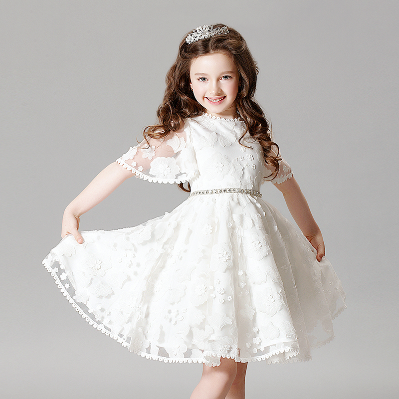 2017 Fashion Summer Lace Embroidery Baby Girl Dress Elegant Princess Slim Solid Wedding Flower Girls Dress Prom Party Dress P18