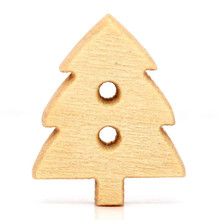 100Pcs Christmas Tree Pine 2 Holes Wood Sewing Buttons DIY Wooden Ornaments Scrapbook 14x12mm