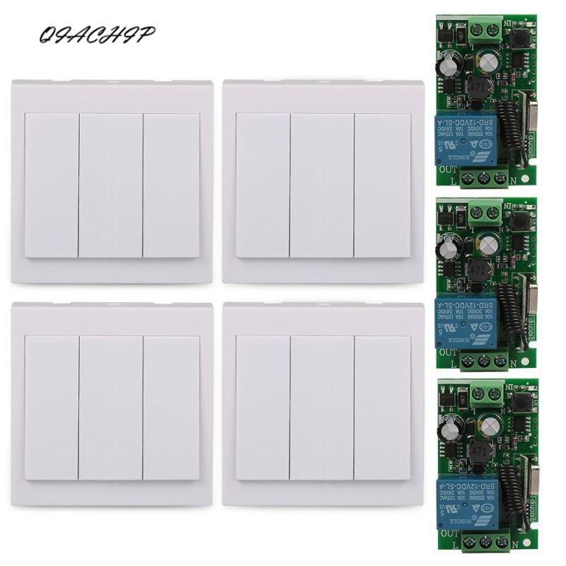 QIACHIP AC 85V~250V 1CH RF Wireless Remote Control Switch Module Receiver + 3CH 433Mhz 86 Wall Panel Remote Transmitter Z2
