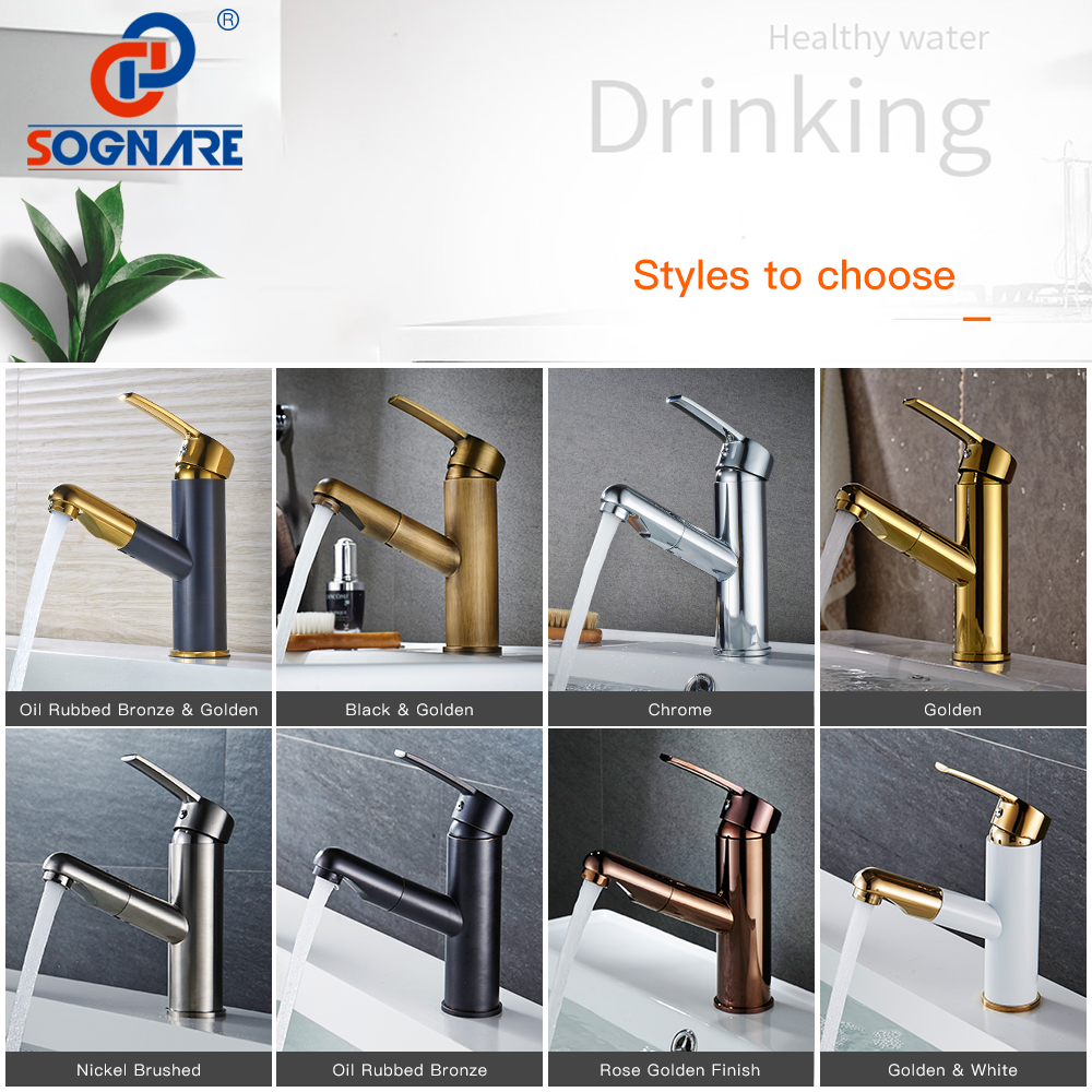 SOGNARE Bathroom Basin Faucets Pull Out Gold/Black Bath Sink Crane Copper Sink Mixer Taps Hot and Cold Deck Mounted Wash Faucet