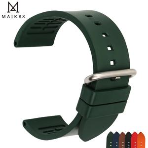 Image 1 - MAIKES Qualität Uhr Gummiband Uhr Band Uhr Zubehör Sport Armband 20mm 22mm 24mm Für Omega Huawei GT Uhr