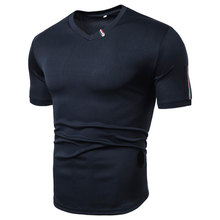 MarKyi 2019 new v-neck men summer t shirts short sleeve fashion patchwork casual mens t-shirt hip hop