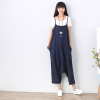 new Summer Fashion Solid Cotton Linen Women Capris Overalls Casual Pantskirt Jumpsuits Loose linen Bib short free shipping