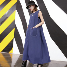 Women Summer High Quality Loose Sleeveless Pleated Design Casual Vest Dress Female Streetwear Punk Gothic Plus Size Tank