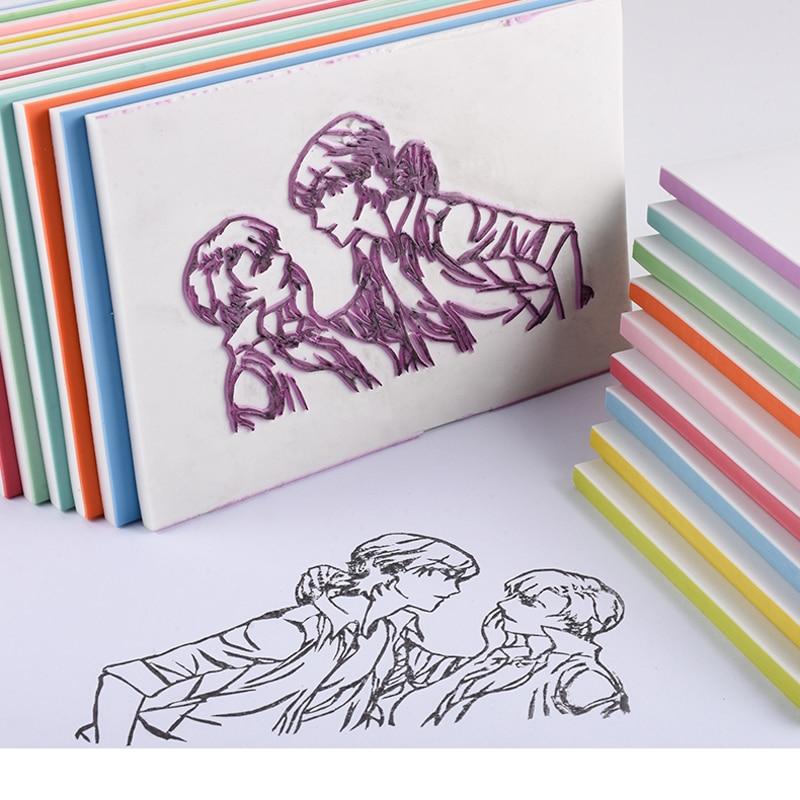 Multicolor Square Rubber Stamp Carving Blocks Stationery For Scrapbooking DIY Rubber Stamp Craft,Postcards(Random Delivery)