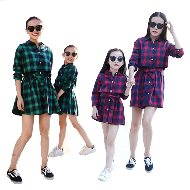 2017 family matching mother daughter dresses clothes plaid mom and daughter dress kids p ...