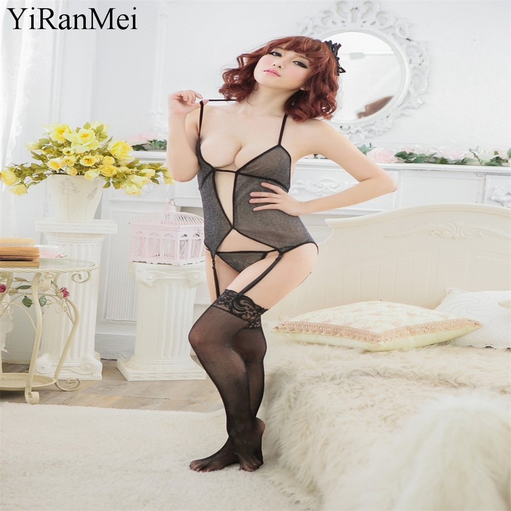 YiRanMei  Black Sexy Bodysuit Babydolls Tenue Femme Erotique Lingerie Sets Women Bodystocking Temptation Underwear