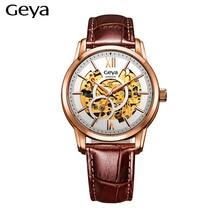 Geya G78001 Relogio masculino Relojes Para Hombre Mecánico Automático Hueco Relojes Hombre Relojes de pulsera de Moda de Oro de Cuero Sportsclock
