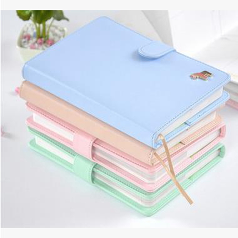 New Cute Planners Fresh Macaron 124 Sheets Pony Weekly Planner Leather Notebook Composition Book For Office School Supplies Gift sosw fashion anime theme death note cosplay notebook new school large writing journal 20 5cm 14 5cm