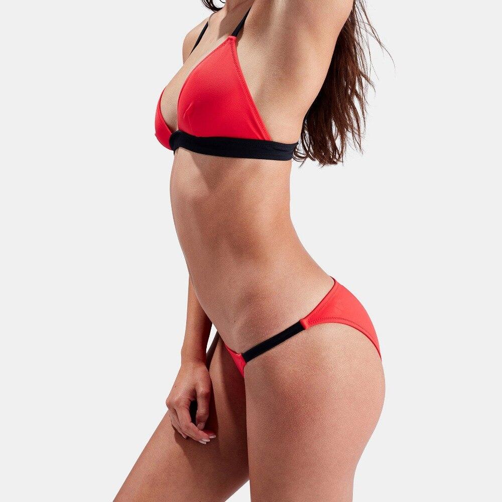New Bikini 2019 Women 39 s Set Solid Color Stripe Set Push up UnPadded Bra Triangle Bathing Suit Set Bikini Beach Essentials in Bikinis Set from Sports amp Entertainment