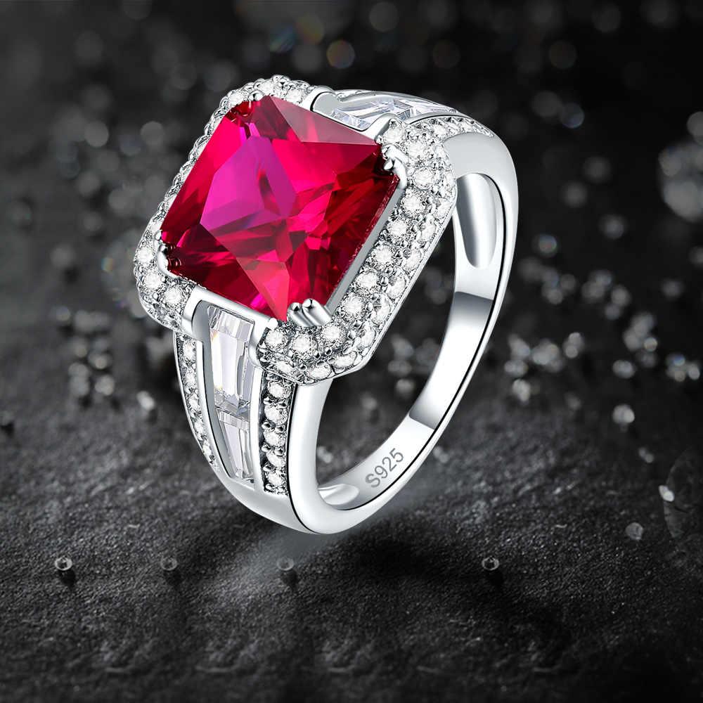 J.C wspaniały niebieski i Ruby i biały Topaz kobiety mężczyzn idealne na stałe 925 Sterling srebrny pierścień rozmiar 7 8 9 10 elegancka biżuteria zaręczynowa