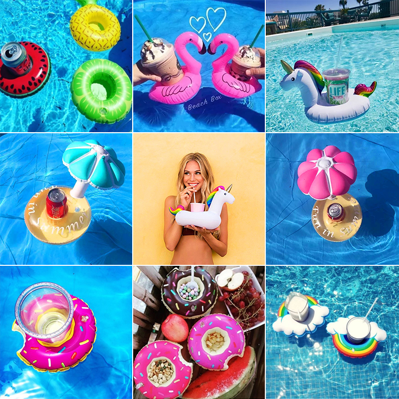 Mini Water Coasters Flamingo Pool Drink Float cup holder Floating inflatable Cute Swimming toy cup stand Water For beach party