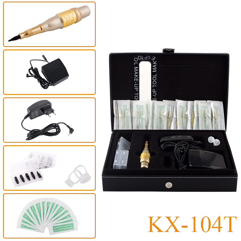 New Style KX-104T Tattoo Kit Permanent Makeup Machine Eyebrow  Lips Eyeliner Cosmetic Pen Mosaic Design with Power Supply headless mode jjrc h20w hd 2mp camera drone wifi fpv 2 4ghz 4 channel 6 axis gyro rc hexacopter remote control toys nano copters